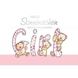 Baby Karte Girl Hallo Sonnenschein