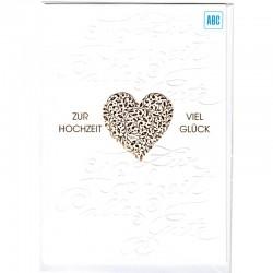 Hochzeitskarte Herz Reliefprägung