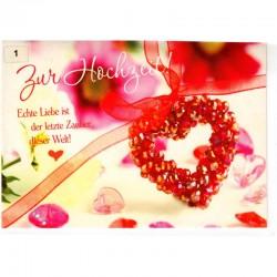 Hochzeitskarte Herz Blumen