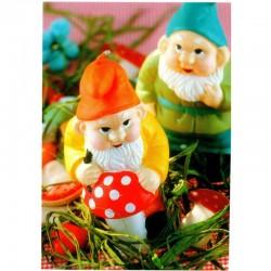 Postkarte Gartenzwerge Pilz