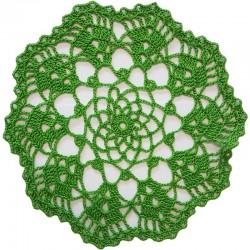Tischdecke gehäkelt grasgrün rund