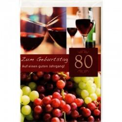 Geburtstagskarte 80 Wein