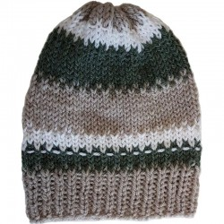 Mütze gestrickt grün/beige/wollweiss