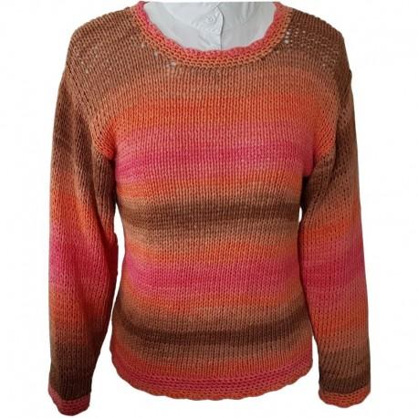 Pullover handgestrickt rosa/orange/braun