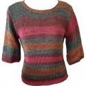 Pullover handgestrickt rosa/petrol/braun