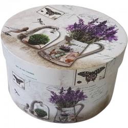 Geschenkschachtel Lavendel rund