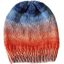 Mütze gestrickt Jeans/Lachs